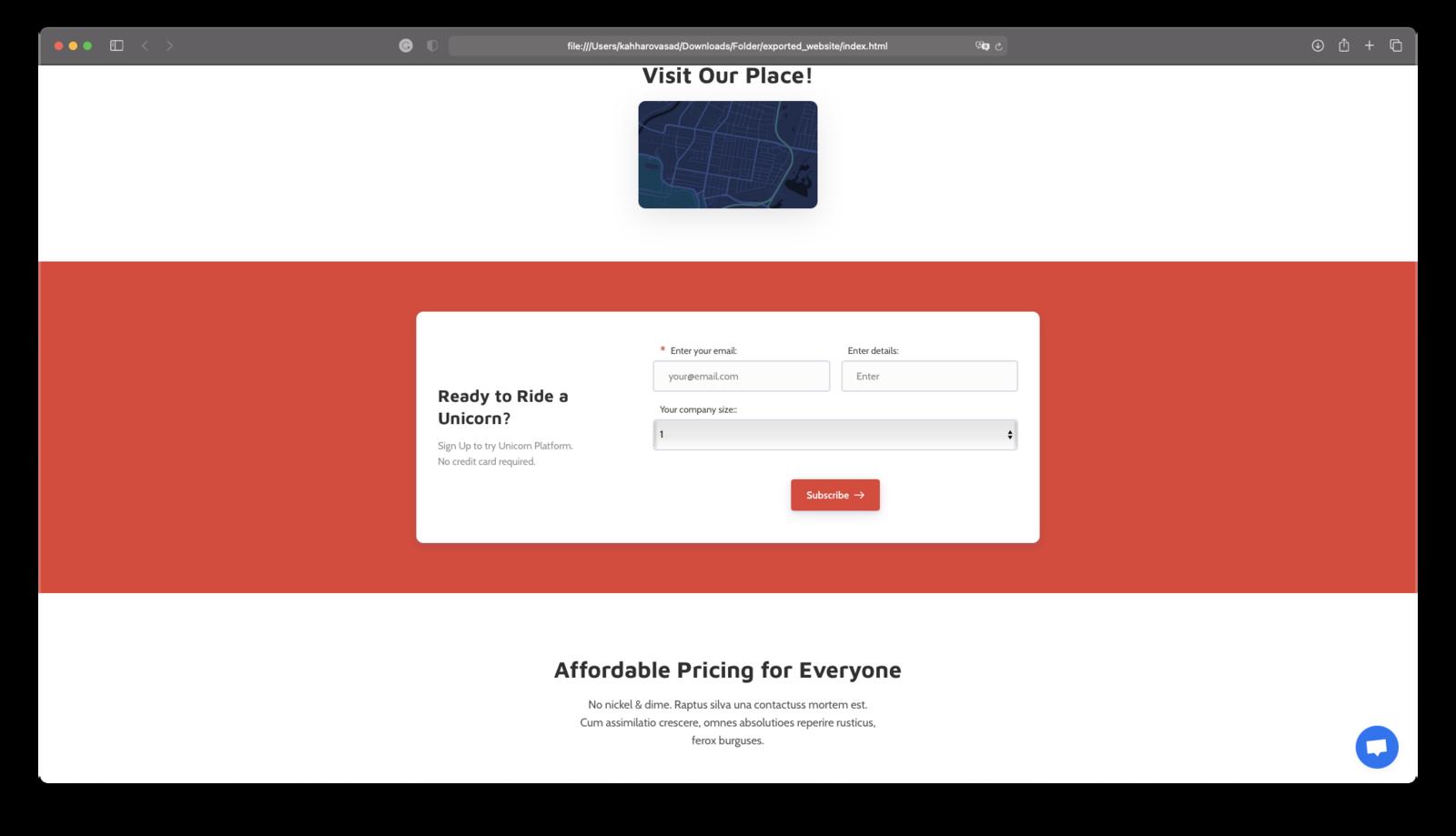 Exported website