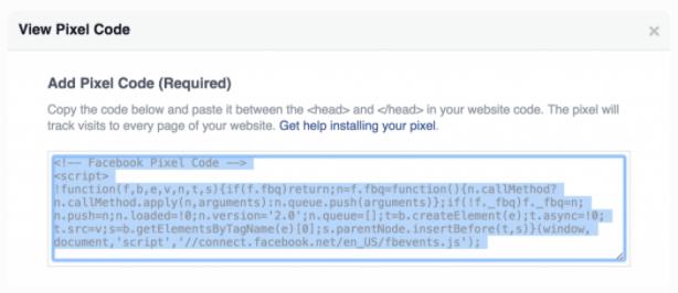 Facebook Pixel code snippet