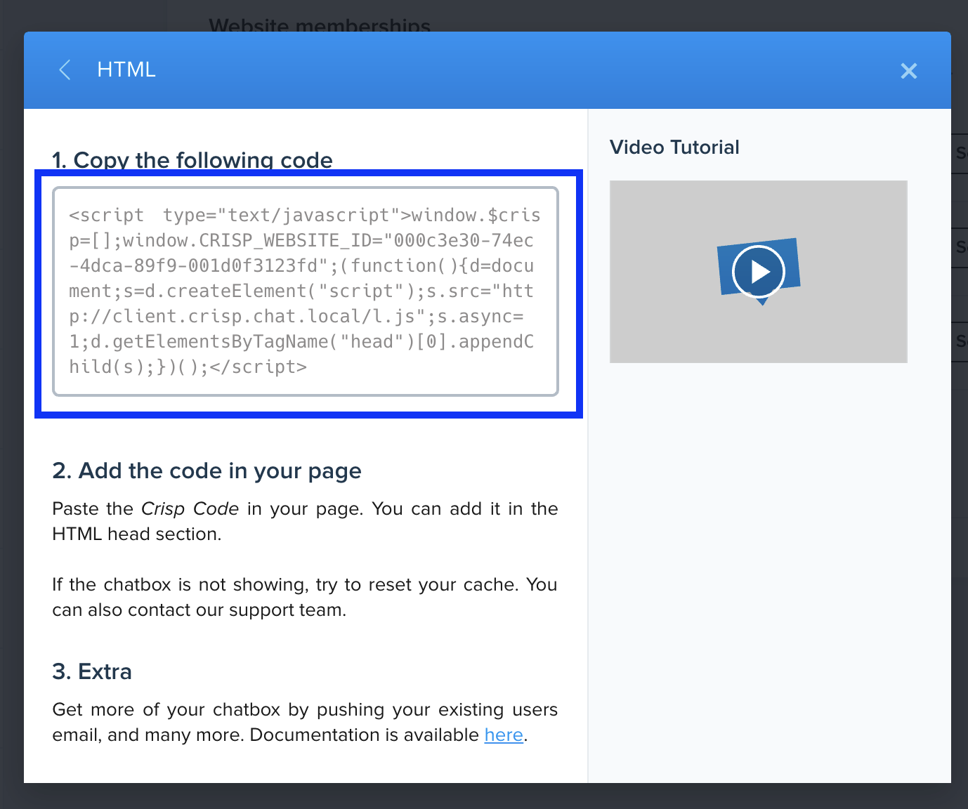 Crisp HTML code