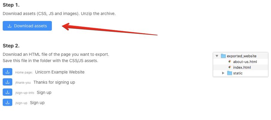 Export settings