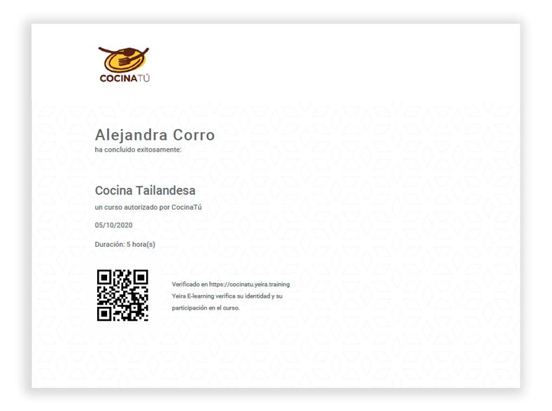 Example Digital Certificate, online course