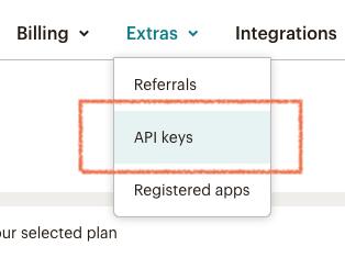 """Ve a """"Extras > API Keys"""""""