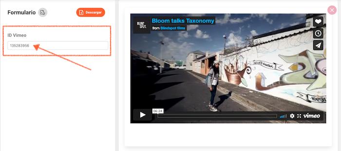 """Agrega el """"ID"""" del video de Vimeo en el editor del átomo de Bloom"""