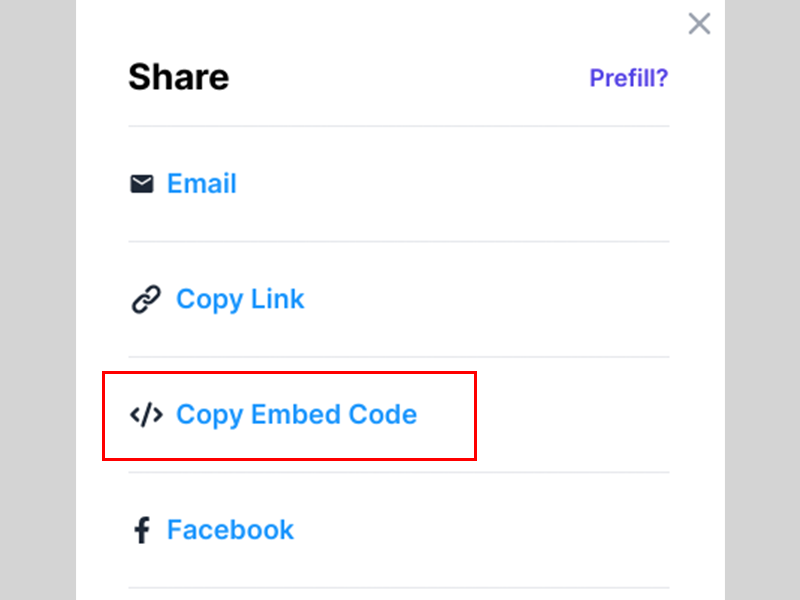 "Choose ""Copy Embed Code"""