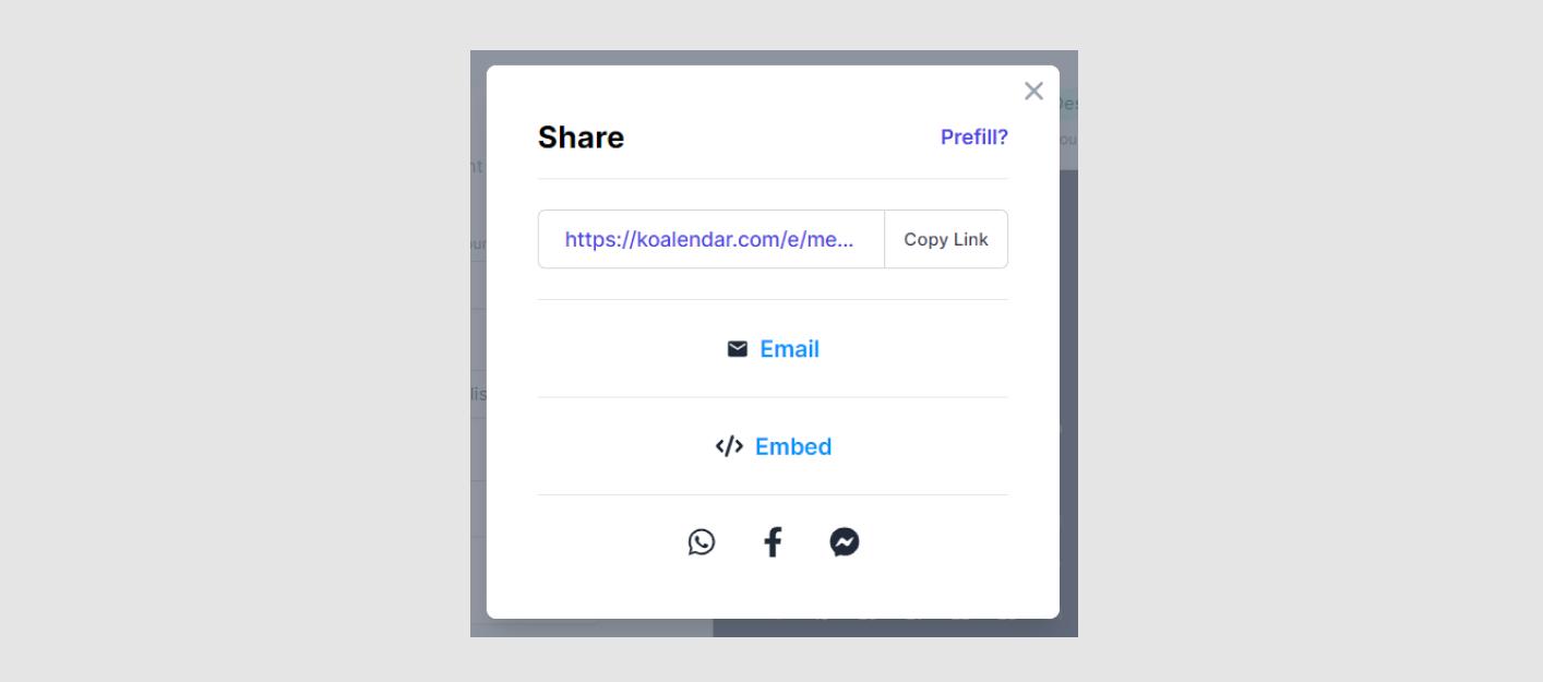 Koalendar sharing options