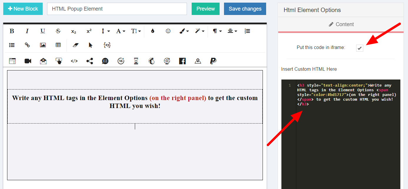 Add HTML Element in a Popup