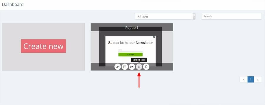 Attach a popup with embed code