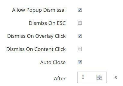 Auto close popup option