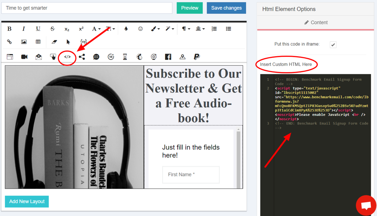 Benchmark form insert custom HTML
