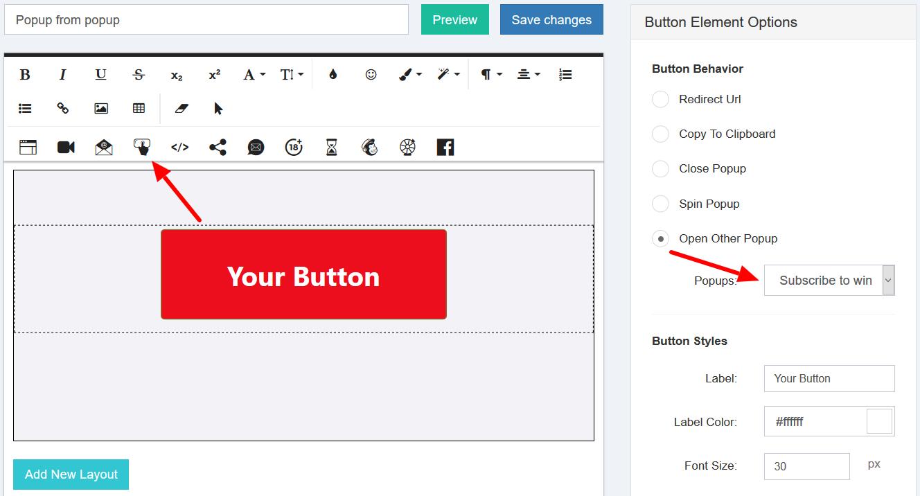 Button behavior section