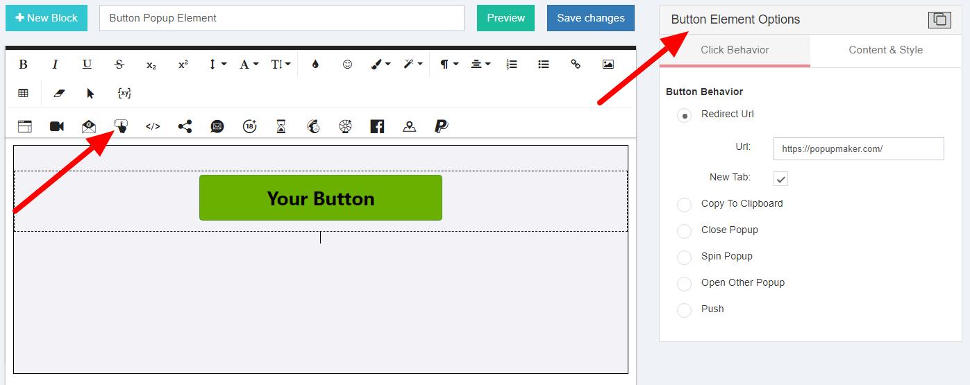 Button Element Options