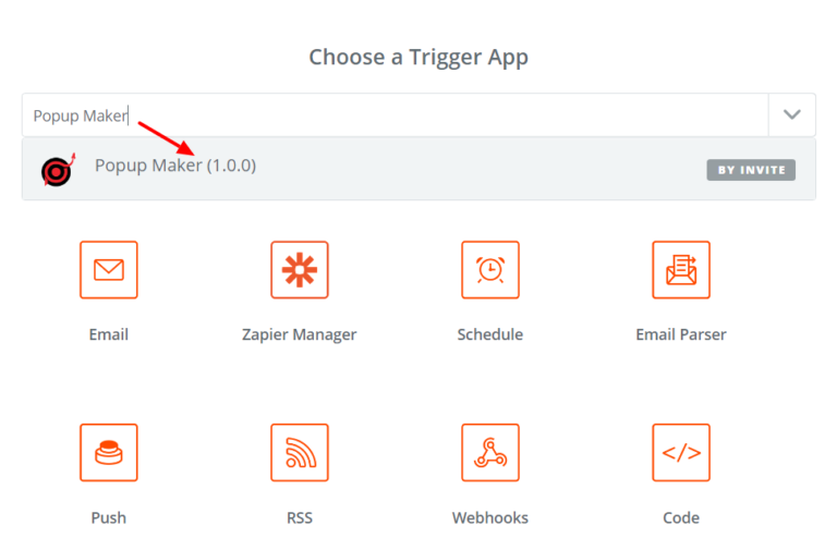 Choose Popup Maker as the Trigger App in Zapier