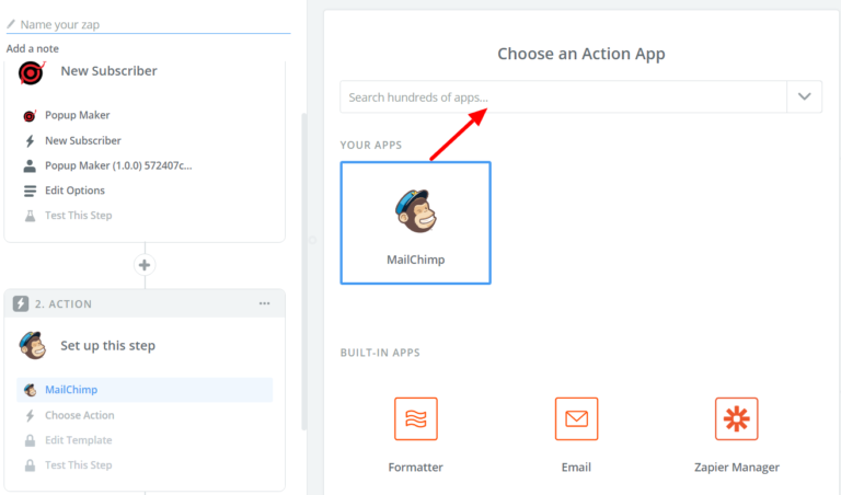Choose the action app in Zapier
