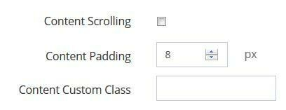 Content scroll popup options