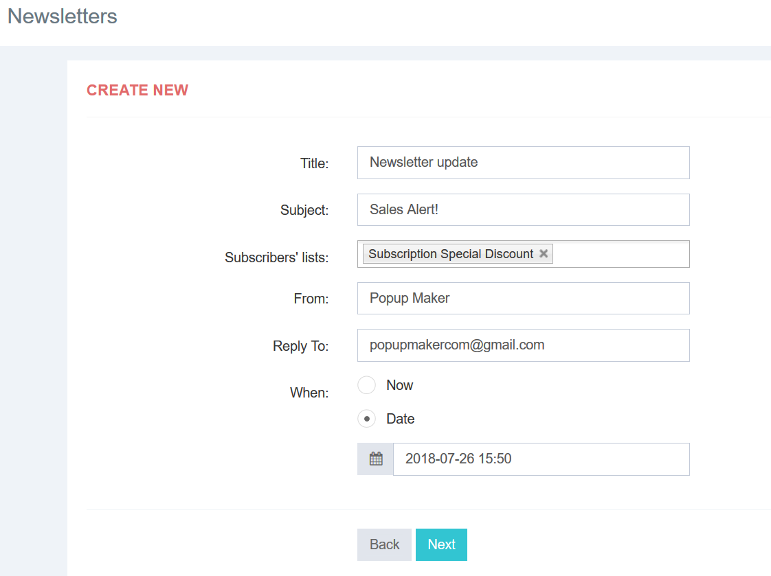 Create a new newsletter form