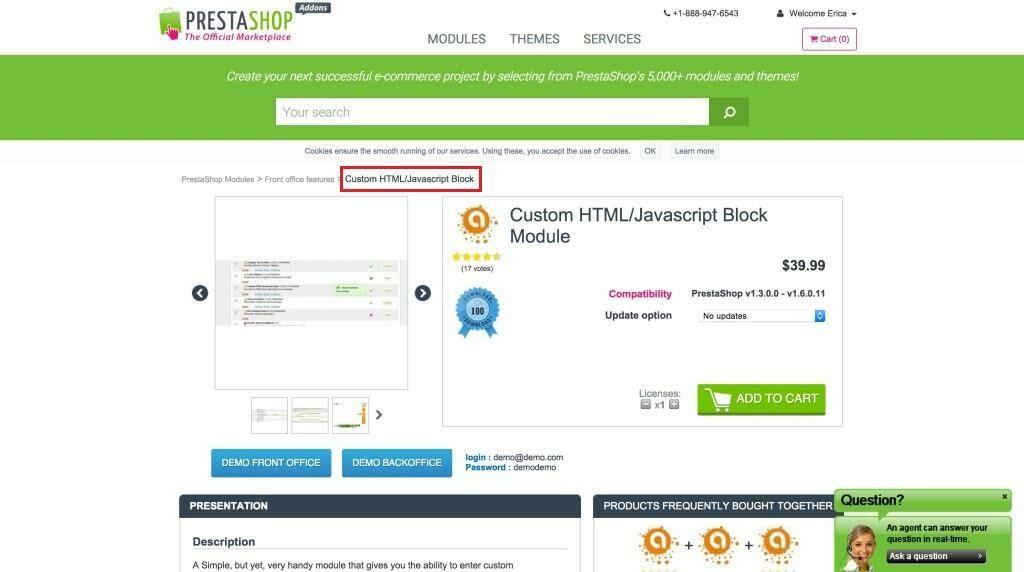 Custom HTML Javascript Code Modul