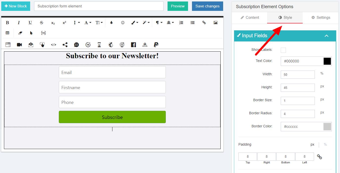 Customize subscription form design