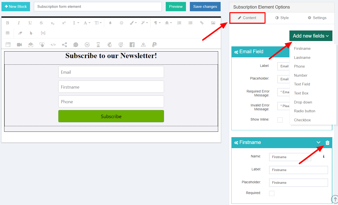 Customize subscription form fields