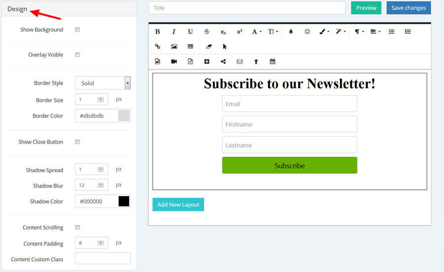 Customize the design options of your popup