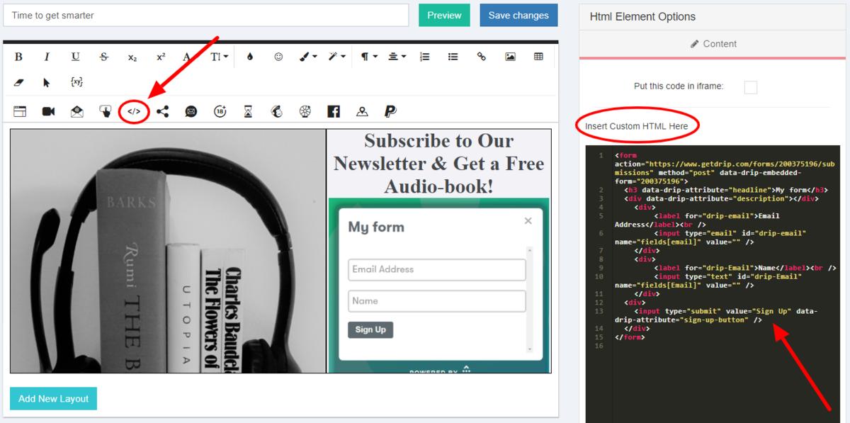 Drip Form Custom HTML