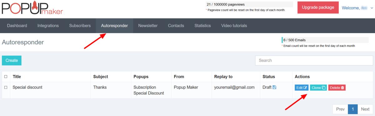 Edit email autoresponder