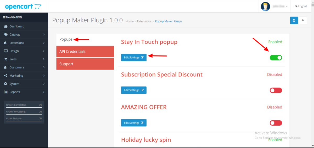 Enable Popup Maker to OpenCart