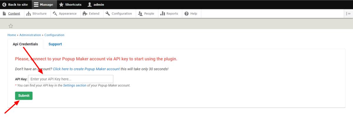 Enter API code in drupal mode