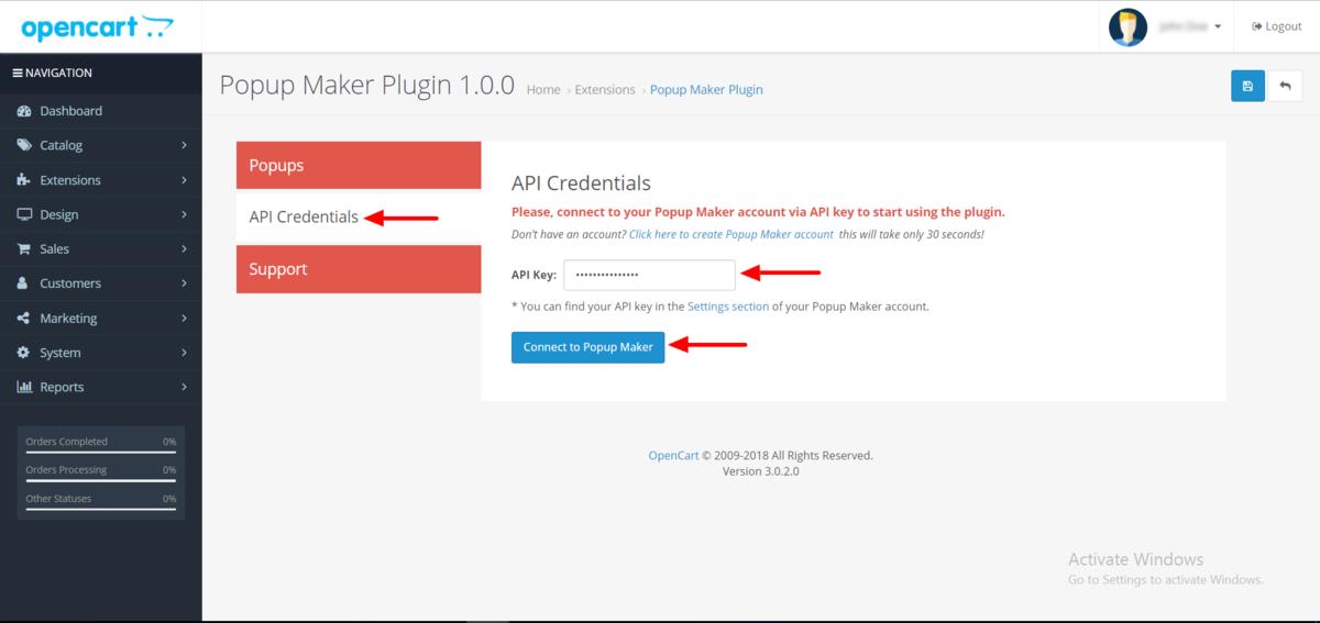 Enter the API key in OpenCart menu