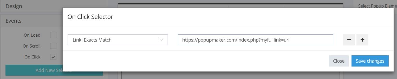 Exact match popup filter