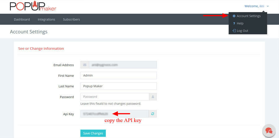Find and copy API key OpenCart