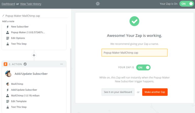 Finish Popup Maker Integration in Zapier