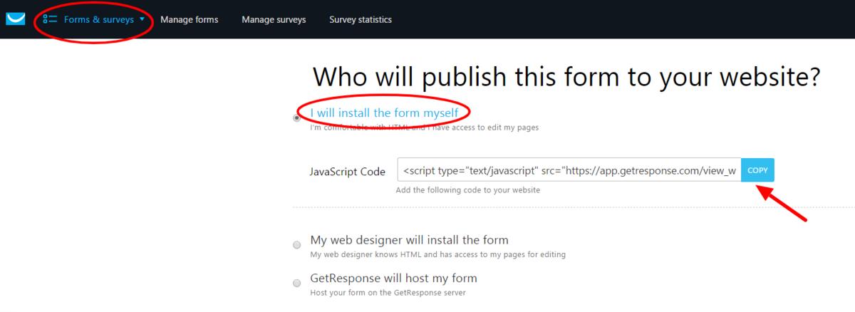 Get GetResponse Embed Code