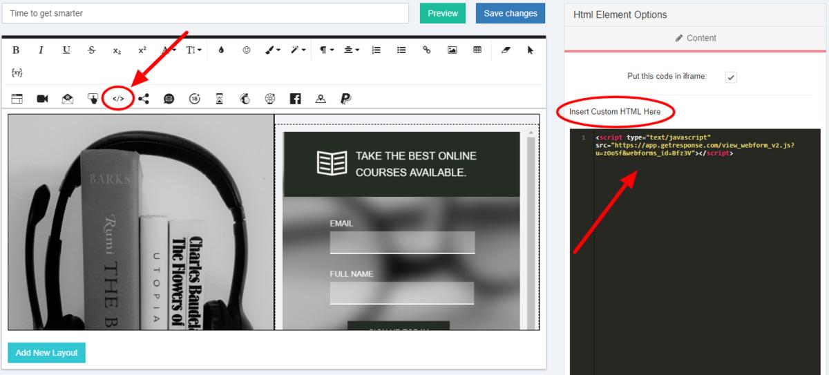 GetResponse HTML Element Options