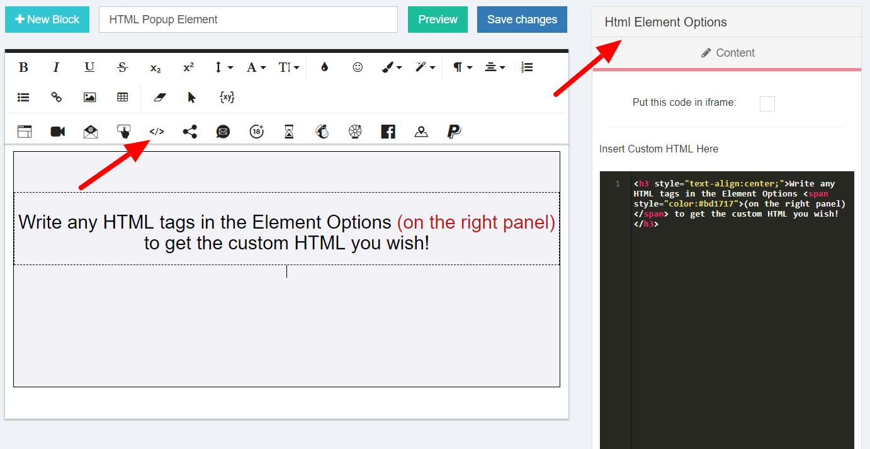 HTML Element Options