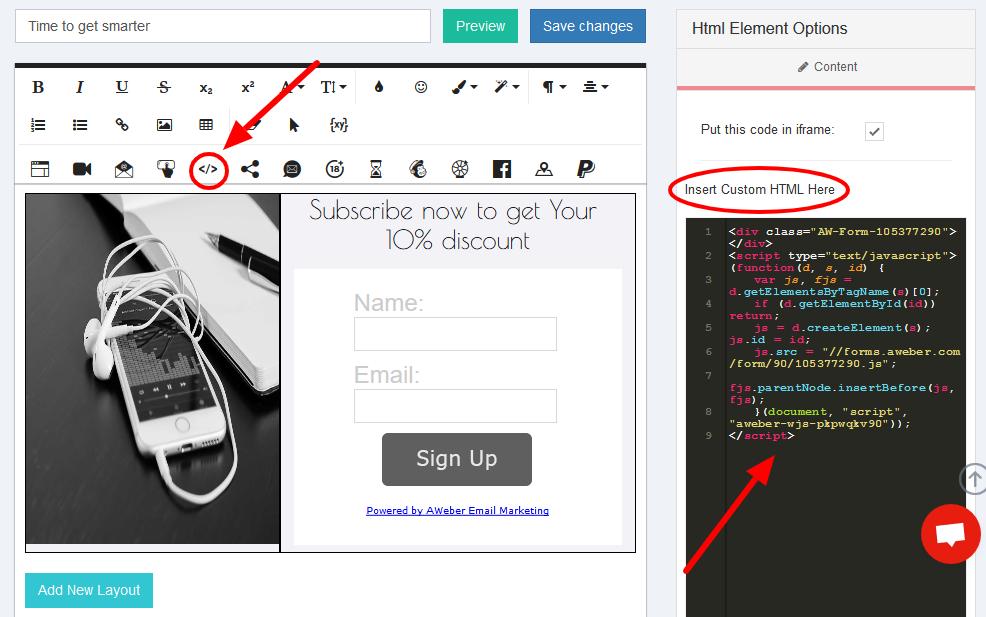 Popup Maker Insert Custom HTML