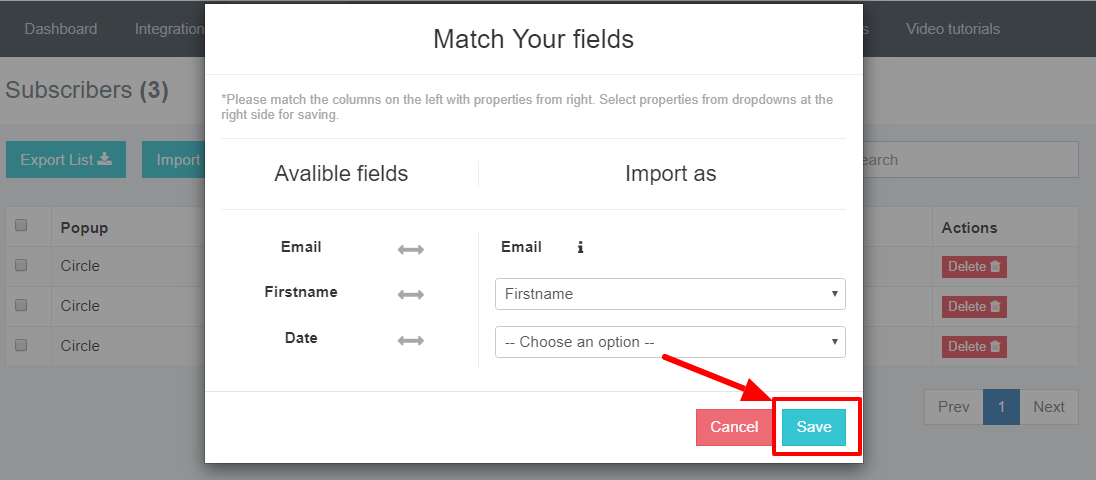 Match the subscribers' lists' fields