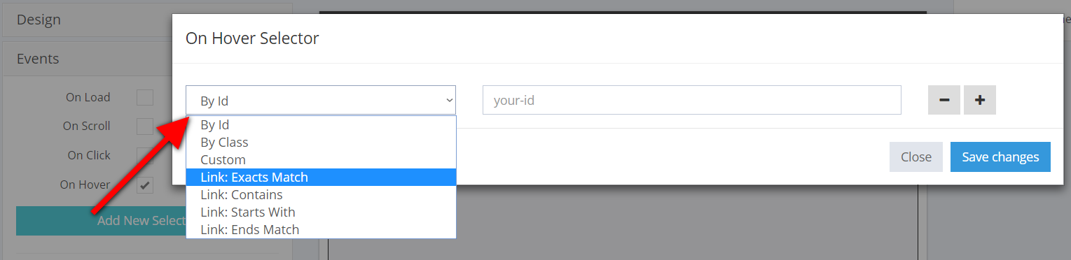 On hover selector popup