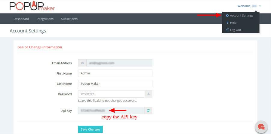 Paste your API code in Popup Maker Drupal plugin