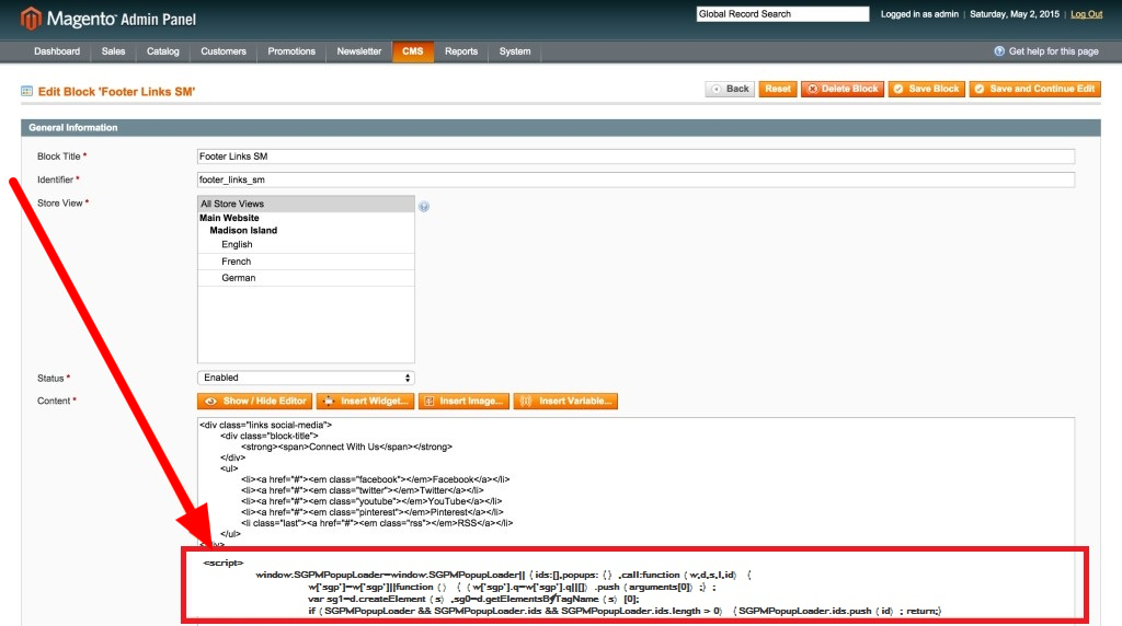 Paste Popup Maker Embed Code To Magento