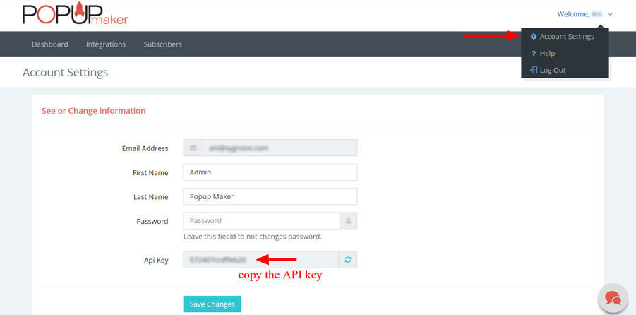 Popup Maker Account Settings API Key