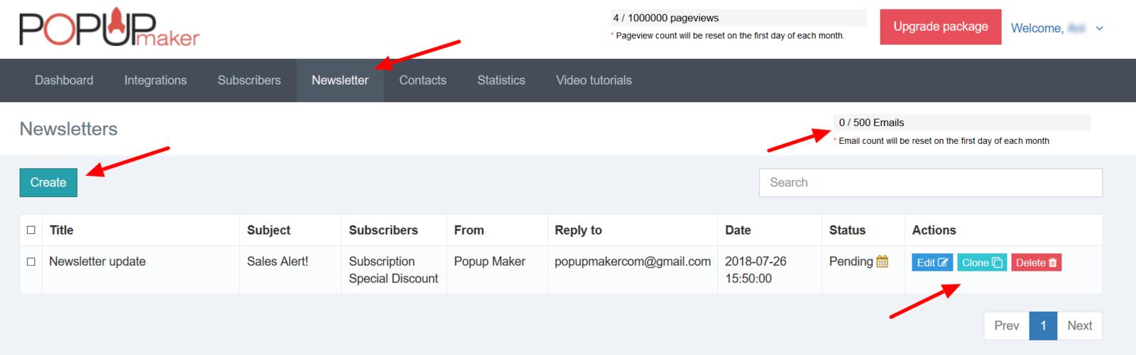 Popup Maker create a newsletter popup