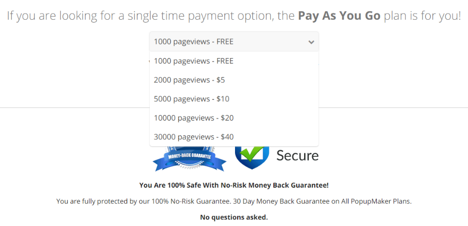 Popup Maker single time payment