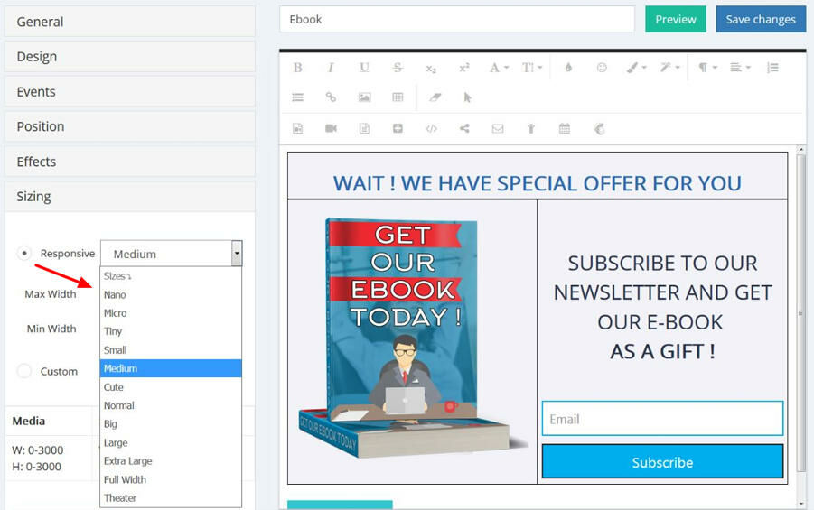 Select a responsive size for a popup