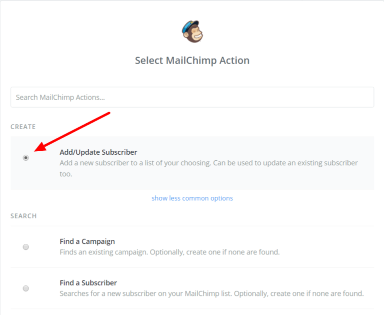Select MailChimp Action in Zapier