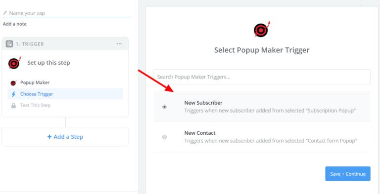 Select Popup Maker Trigger