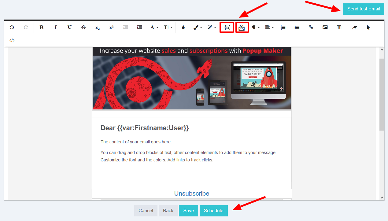 Send test email newsletter tool