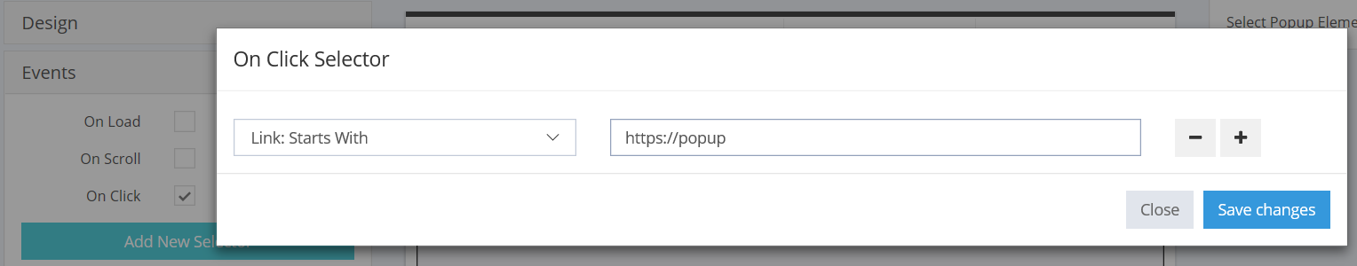 Starts with filter popup