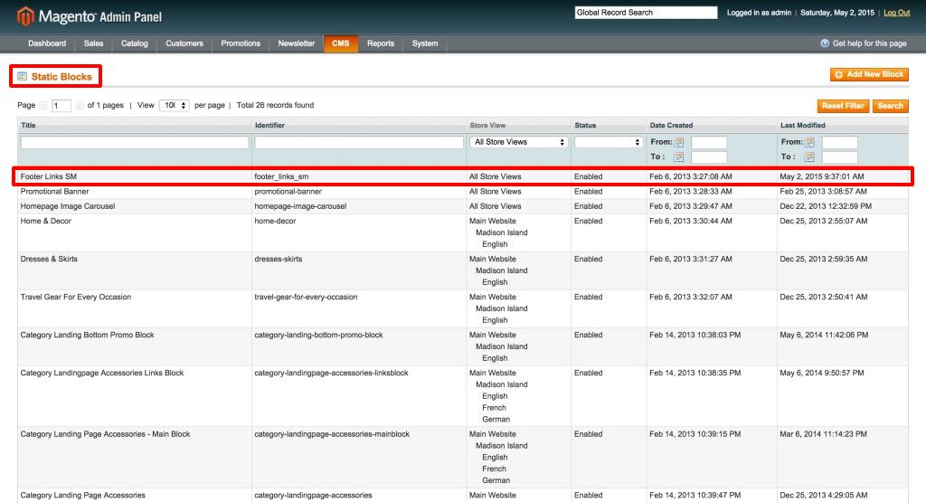 Magento Website Static Blocks Footer Links SM