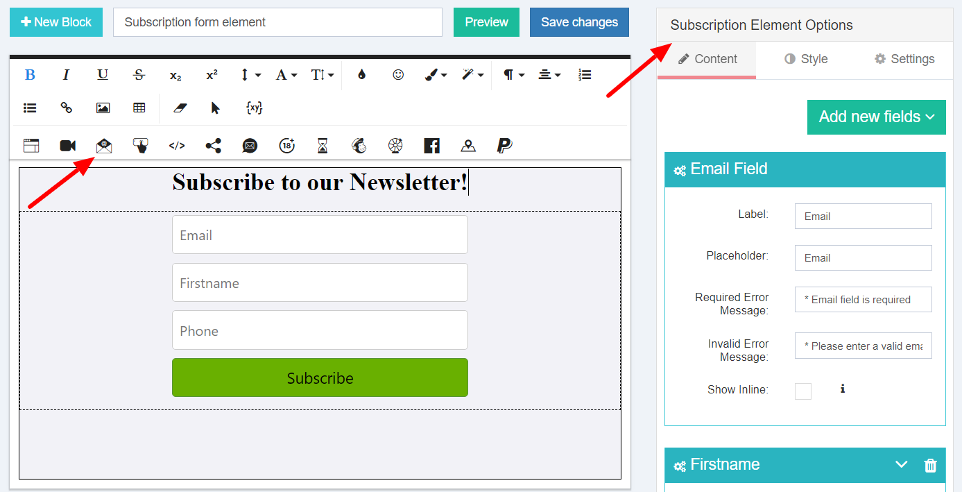 Subscription Form Options