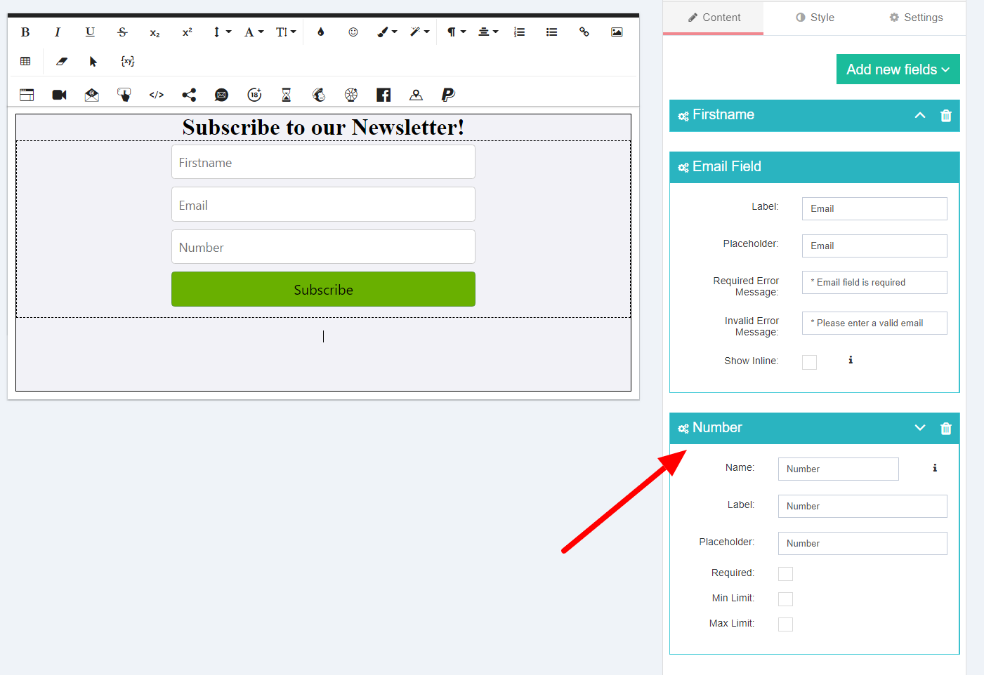 Subscription popup number field